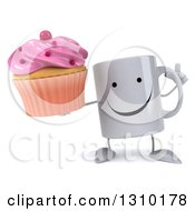 Clipart Of A 3d Happy Coffee Mug Character Holding Up A Finger And A Pink Frosted Cupcake Royalty Free Illustration