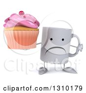 Clipart Of A 3d Unhappy Coffee Mug Character Holding A Thumb Down And A Pink Frosted Cupcake Royalty Free Illustration