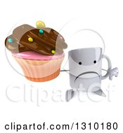Clipart Of A 3d Unhappy Coffee Mug Character Holding Up A Thumb Down And A Chocolate Frosted Cupcake Royalty Free Illustration