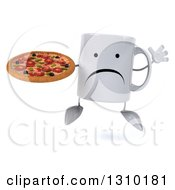Clipart Of A 3d Unhappy Coffee Mug Character Jumping And Holding A Pizza Royalty Free Illustration