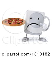 Clipart Of A 3d Unhappy Coffee Mug Character Holding And Pointing To A Pizza Royalty Free Illustration