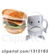 Clipart Of A 3d Unhappy Coffee Mug Character Holding Up A Double Cheeseburger Royalty Free Illustration