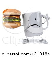Clipart Of A 3d Unhappy Coffee Mug Character Holding Up A Finger And A Double Cheeseburger Royalty Free Illustration