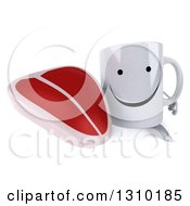 Clipart Of A 3d Happy Coffee Mug Character Holding Up A Beef Steak Royalty Free Illustration