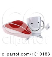 Clipart Of A 3d Happy Coffee Mug Character Holding Up A Thumb And A Beef Steak Royalty Free Illustration