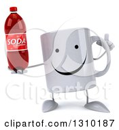 Clipart Of A 3d Happy Coffee Mug Character Holding Up A Finger And A Soda Bottle Royalty Free Illustration