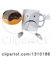 Clipart Of A 3d Unhappy Coffee Mug Character Jumping And Holding A Chocolate Frosted Donut Royalty Free Illustration