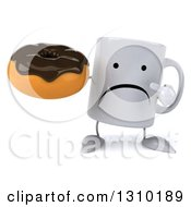 Clipart Of A 3d Unhappy Coffee Mug Character Holding And Pointing To A Chocolate Frosted Donut Royalty Free Illustration