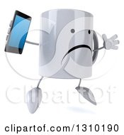 Clipart Of A 3d Unhappy Coffee Mug Character Facing Slightly Right Jumping And Holding A Smart Cell Phone Royalty Free Illustration