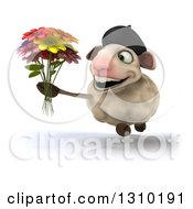 Clipart Of A 3d French Sheep Running And Holding A Flower Bouquet Royalty Free Illustration
