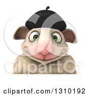 Clipart Of A 3d French Sheep Smiling Over A Sign Royalty Free Illustration