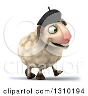 Clipart Of A 3d French Sheep Walking Slightly To The Right Royalty Free Illustration