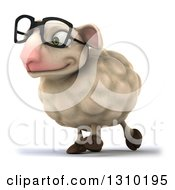 Clipart Of A 3d Bespectacled Sheep Walking Slightly To The Left Royalty Free Illustration