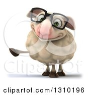 Clipart Of A 3d Bespectacled Sheep Pointing The Left Royalty Free Illustration
