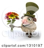 Clipart Of A 3d Irish Sheep Facing Slightly Left And Holding A Boquet Of Flowers Royalty Free Illustration