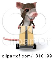 Clipart Of A 3d Mouse With Braces Moving Boxes On A Dolly Royalty Free Illustration