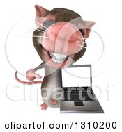 Clipart Of A 3d Mouse With Braces Holding Up And Pointing To A Laptop Computer Screen Royalty Free Illustration