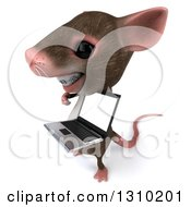 Clipart Of A 3d Mouse With Braces Facing Left Holding And Pointing To A Laptop Computer Screen Royalty Free Illustration