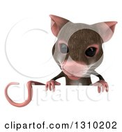 Clipart Of A 3d Mouse Looking Down Over A Sign Royalty Free Illustration