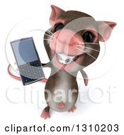 Clipart Of A 3d Mouse With Braces Holding Up A Cell Phone Royalty Free Illustration