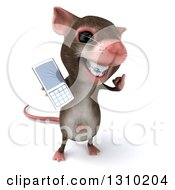 Clipart Of A 3d Mouse With Braces Gesturing Call Me And Holding A Cell Phone Royalty Free Illustration