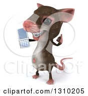 Clipart Of A 3d Mouse With Braces Facing Left Gesturing Call Me And Holding A Cell Phone Royalty Free Illustration
