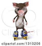 Clipart Of A 3d Mouse With Braces Wearing Inline Roller Blade Skates Royalty Free Illustration by Julos