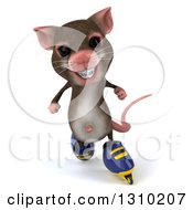 Clipart Of A 3d Mouse With Braces Inline Roller Blade Skating Royalty Free Illustration by Julos