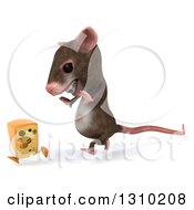 Clipart Of A 3d Mouse With Braces Chasing A Cheese Wedge Royalty Free Illustration by Julos