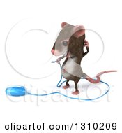 Clipart Of A 3d Mouse With Braces Scratching His Head And Looking At A Computer Mouse Royalty Free Illustration by Julos