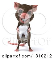 Clipart Of A 3d Mouse With Braces Holding A Tooth Royalty Free Illustration by Julos
