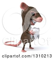 Clipart Of A 3d Mouse With Braces Facing Right And Holding A Tooth Royalty Free Illustration by Julos