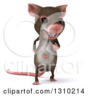 Clipart Of A 3d Mouse With Braces Walking Forward Royalty Free Illustration by Julos