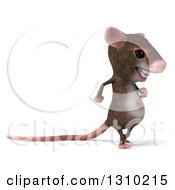 Clipart Of A 3d Mouse With Braces Walking To The Right Royalty Free Illustration by Julos