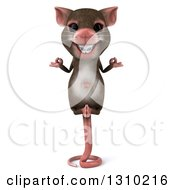 Clipart Of A 3d Mouse With Braces Meditating And Balancing On His Tail Royalty Free Illustration by Julos
