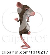 Clipart Of A 3d Mouse With Braces Facing Right Meditating And Balancing On His Tail Royalty Free Illustration by Julos
