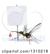 Clipart Of A 3d Mosquito With A Blood Drop Under A Blank Sign Royalty Free Illustration