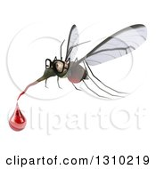 Clipart Of A 3d Mosquito Flying To The Left With A Blood Drop Royalty Free Illustration