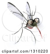 Clipart Of A 3d Bespectacled Mosquito Looking Around A Sign Royalty Free Illustration