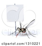 Clipart Of A 3d Bespectacled Mosquito Under A Blank Sign Royalty Free Illustration