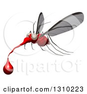 Clipart Of A Cartoon Mosquito Facing Left And Flying With A Blood Drop Royalty Free Illustration