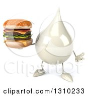 Clipart Of A 3d Milk Lotion Shampoo Or Liquid Soap Drop Character Shrugging And Holding A Double Cheeseburger Royalty Free Illustration