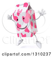 Clipart Of A 3d Pink Spotted Strawberry Milk Carton Character Facing Slightly Left And Jumping Royalty Free Illustration