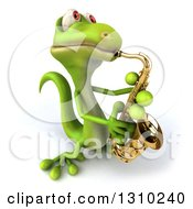 Clipart Of A 3d Green Gecko Facing Slightly Right Leaning Back And Playing A Saxophone Royalty Free Illustration by Julos