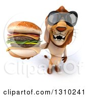 Clipart Of A 3d Male Lion Wearing Sunglasses And Holding Up A Double Cheeseburger Royalty Free Illustration