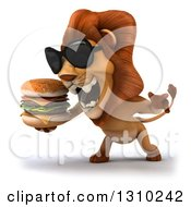 Clipart Of A 3d Male Lion Wearing Sunglasses Facing Slightly Left Roaring And Holding A Double Cheeseburger Royalty Free Illustration