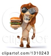 Clipart Of A 3d Male Lion Wearing Sunglasses And Walking With A Double Cheeseburger Royalty Free Illustration