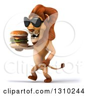Clipart Of A 3d Male Lion Wearing Sunglasses And Walking To The Left With A Double Cheeseburger Royalty Free Illustration