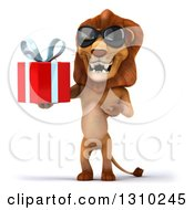 Clipart Of A 3d Male Lion Wearing Sunglasses Holding And Presenting A Gift Royalty Free Illustration