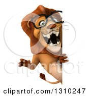 Clipart Of A 3d Bespectacled Male Lion Roaring Around A Sign Royalty Free Illustration